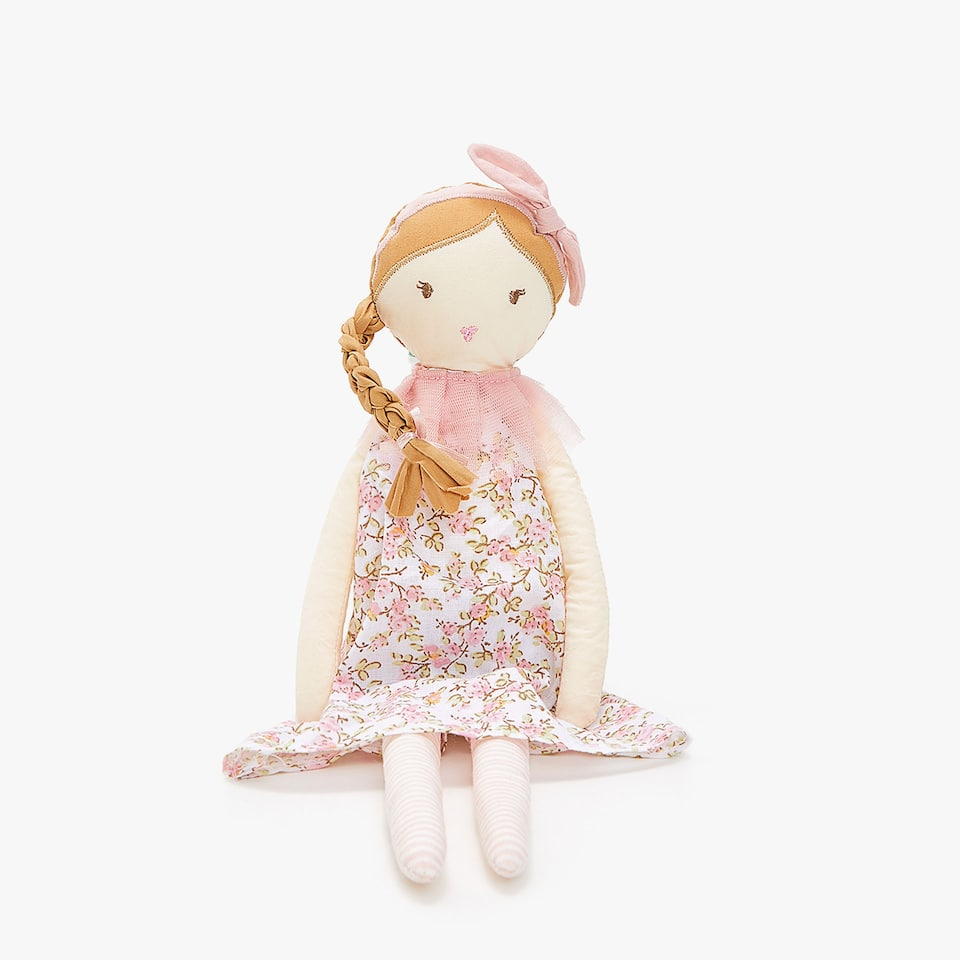 DOLL SOFT TOY WITH BRAIDED HAIR