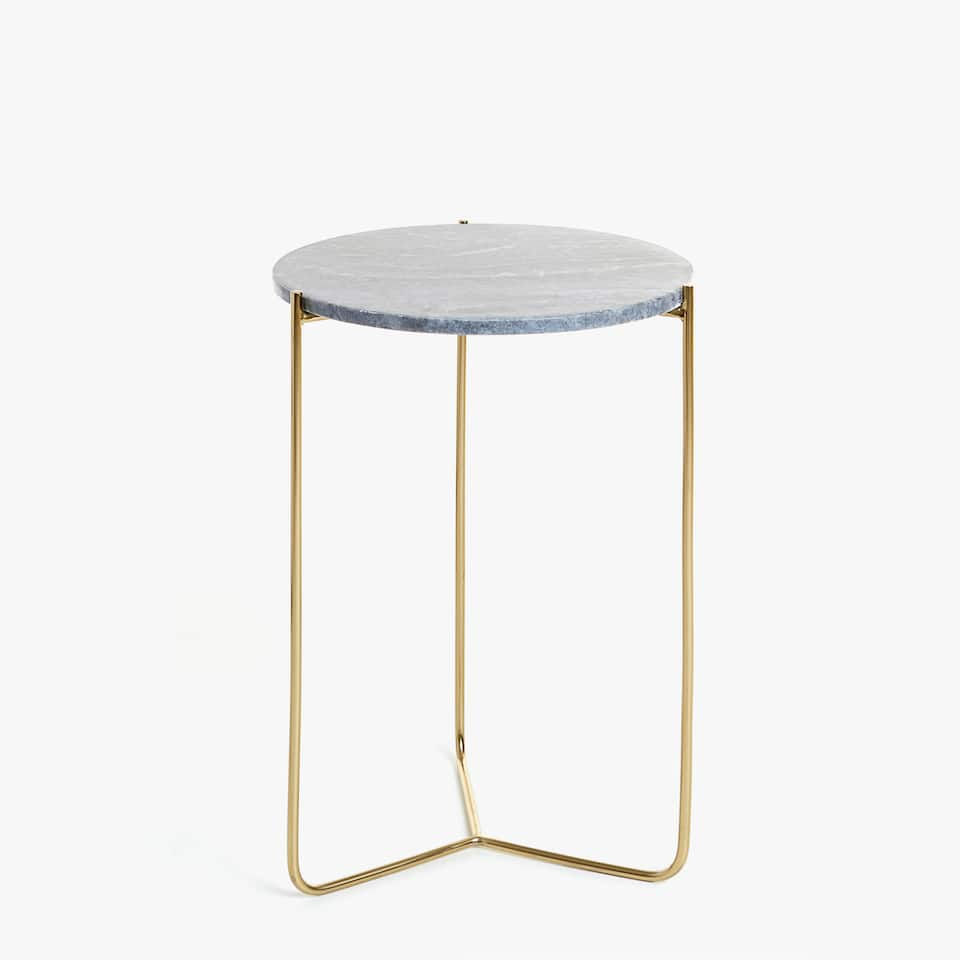 GREY MARBLE SIDE TABLE WITH GOLD BASE