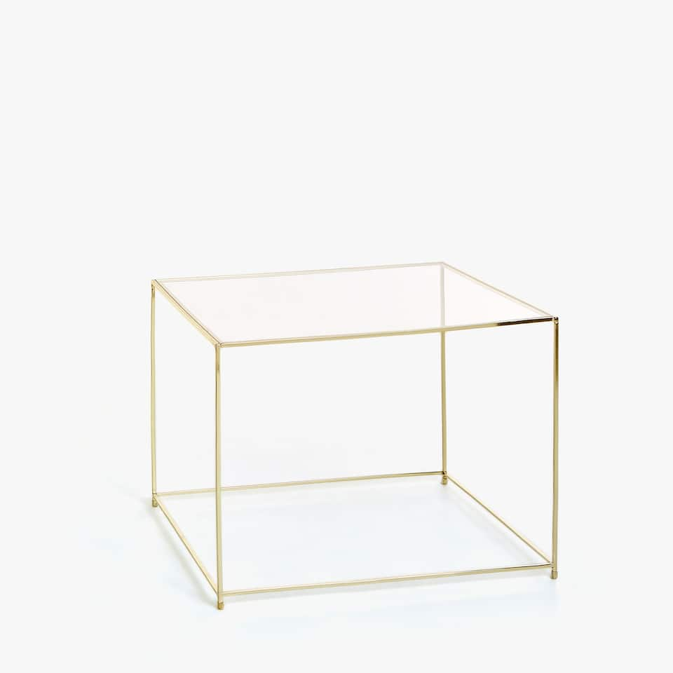 SMALL TABLE WITH METHACRYLATE TOP AND GOLD FRAME