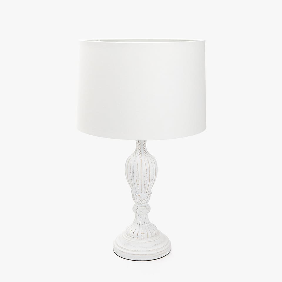 WHITE WASHED EFFECT WOODEN LAMP