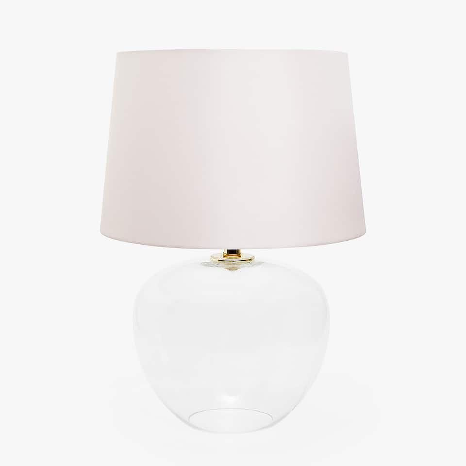 GLASS LAMP WITH PINK SHADE