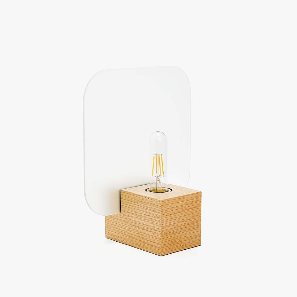 WOODEN LAMP WITH EXPOSED BULB