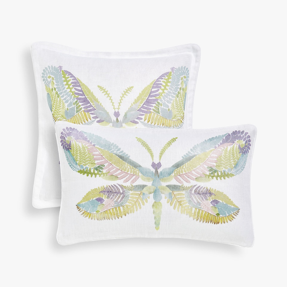 Butterfly print linen cushion cover