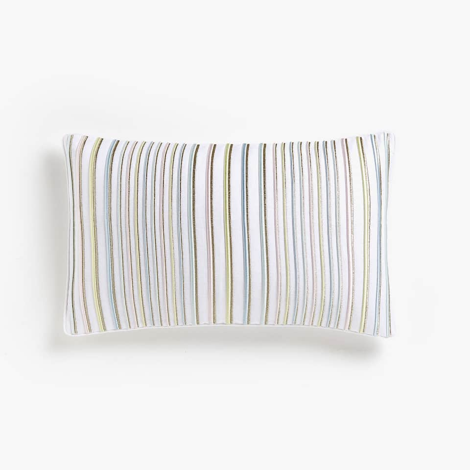 Cushion cover with raised stripes