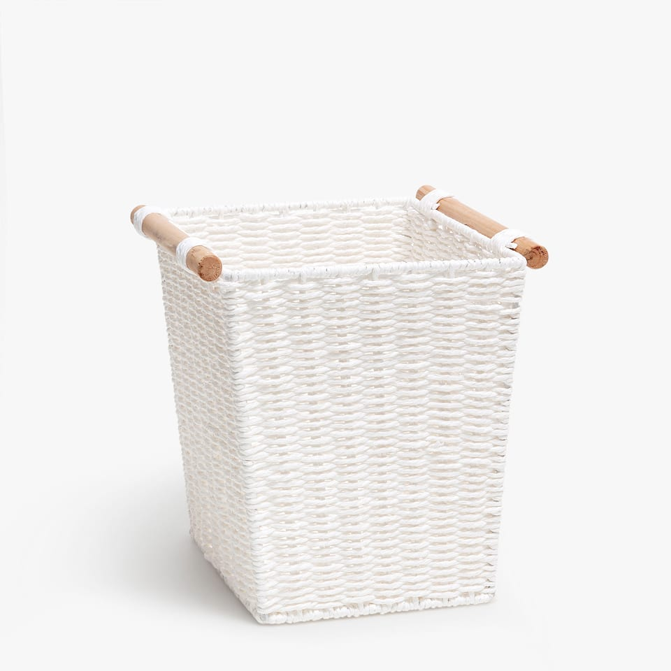 TALL RECTANGULAR BASKET WITH HANDLES