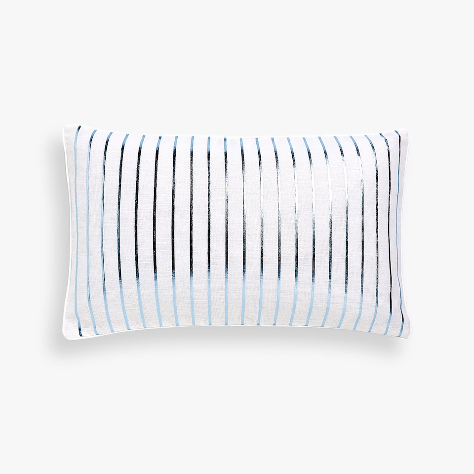 Printed linen cushion cover with stripes