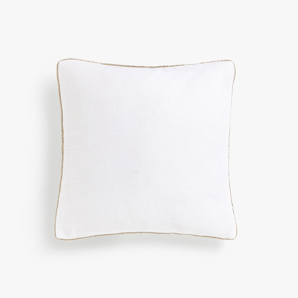 Diamanté linen cushion cover