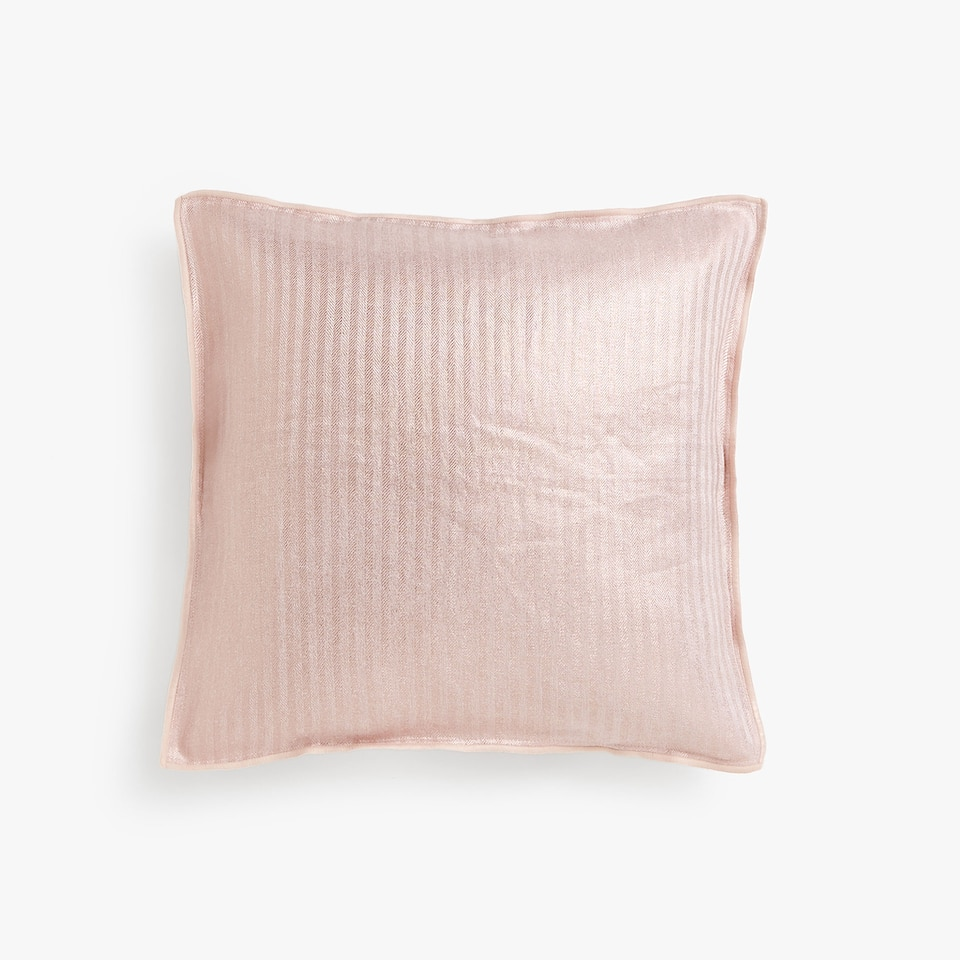 Overlocked linen cushion cover