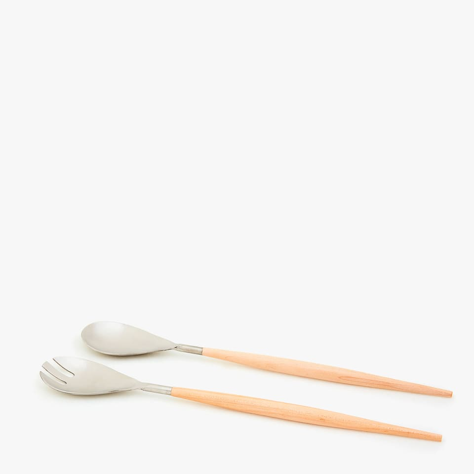 STEEL SERVERS WITH WOODEN HANDLES (SET OF 2)