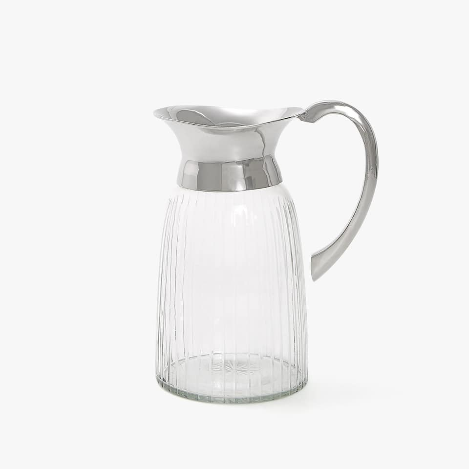 GLASS JUG WITH STEEL DETAIL