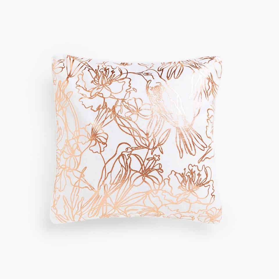 Metallic print linen cushion cover