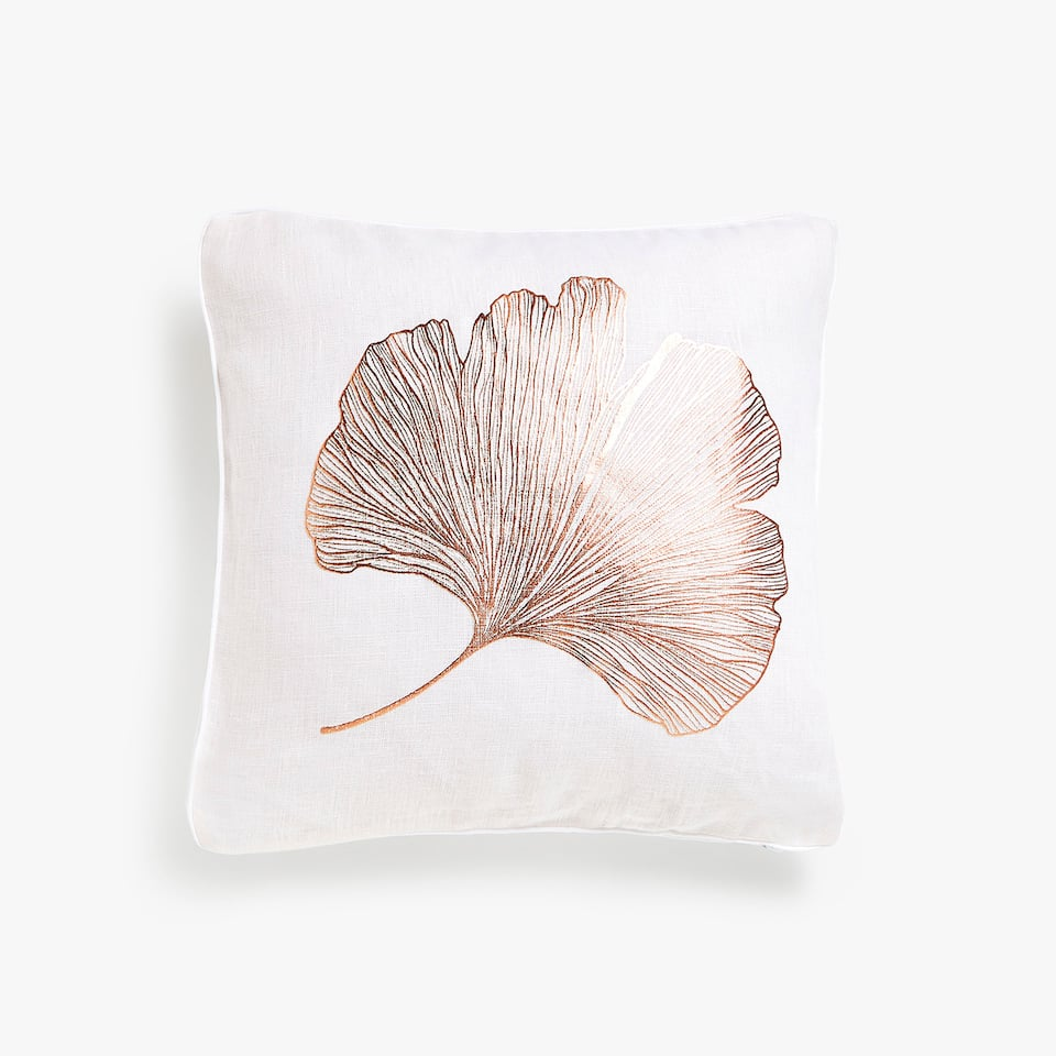 Metallic leaf linen cushion cover