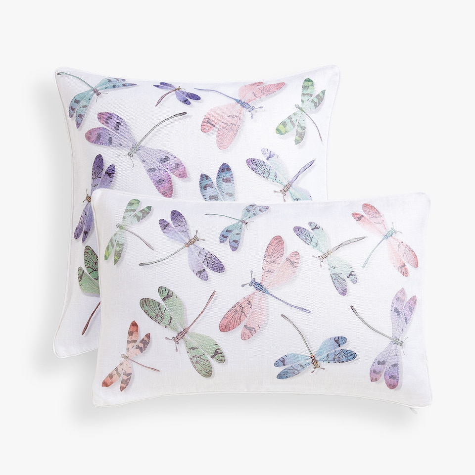 Dragonfly-shaped linen cushion cover