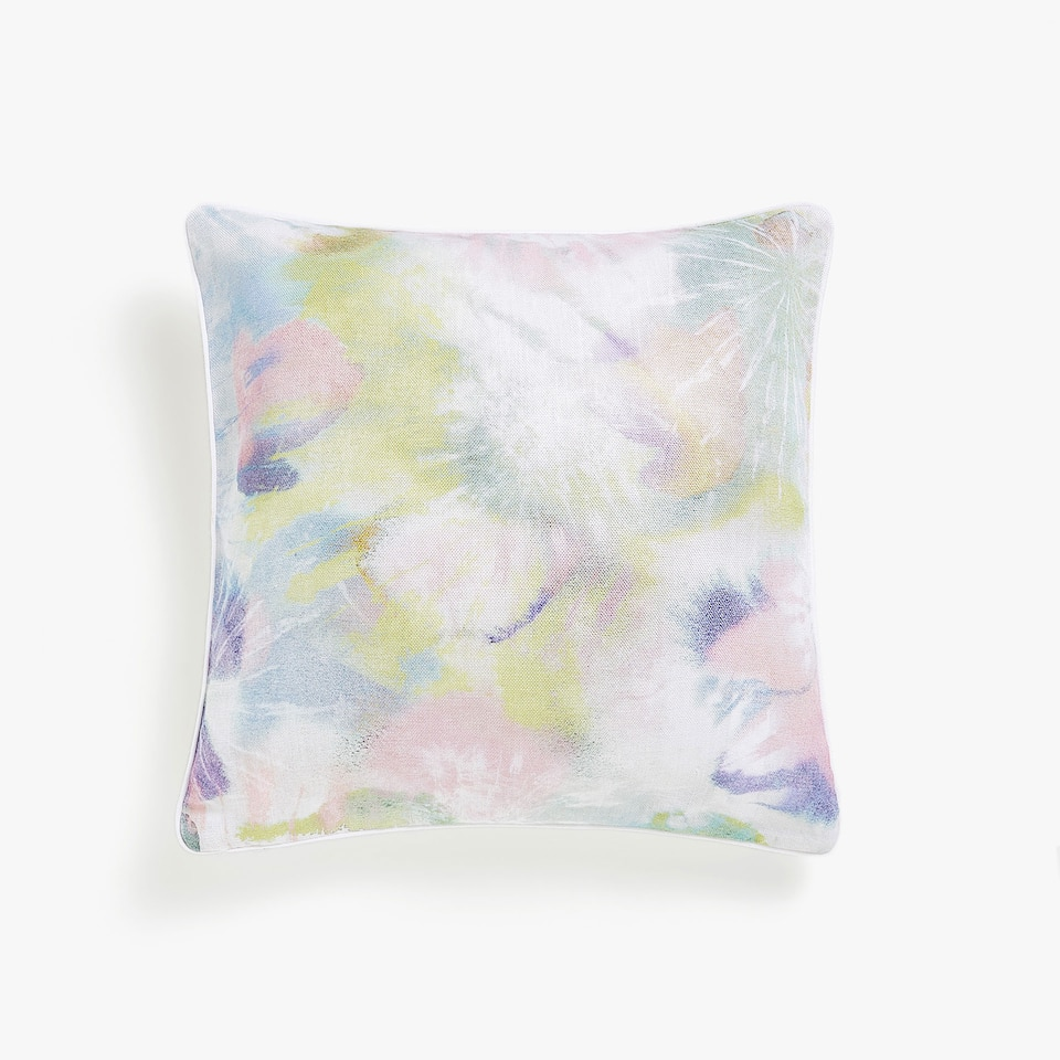 Watercolour print linen cushion cover