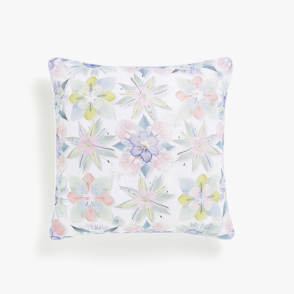 Botanic print linen cushion cover