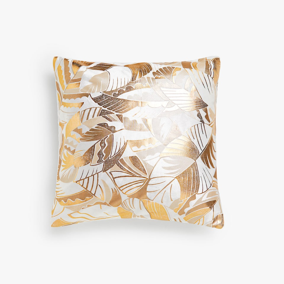 Leaf print velvet cushion cover