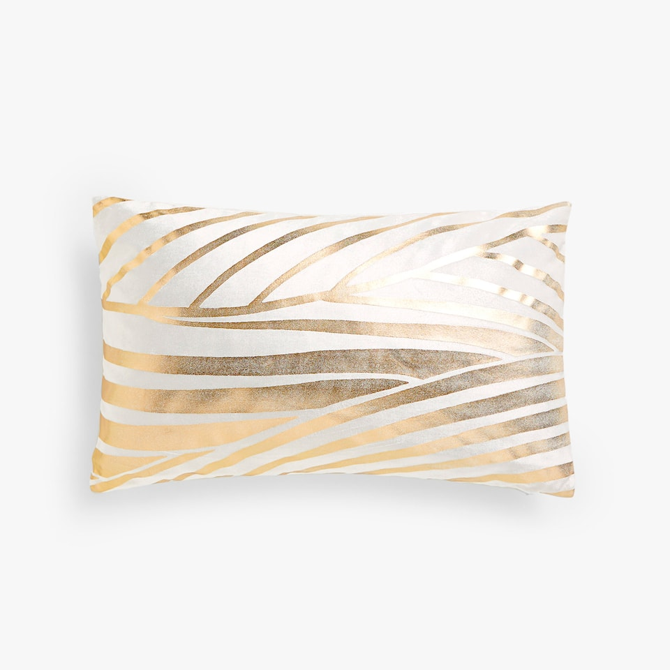 Gold print velvet cushion cover
