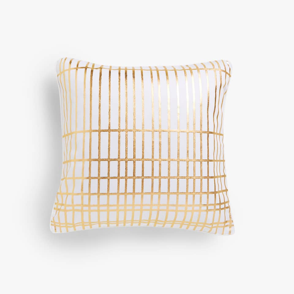 Gold geometric print cushion cover