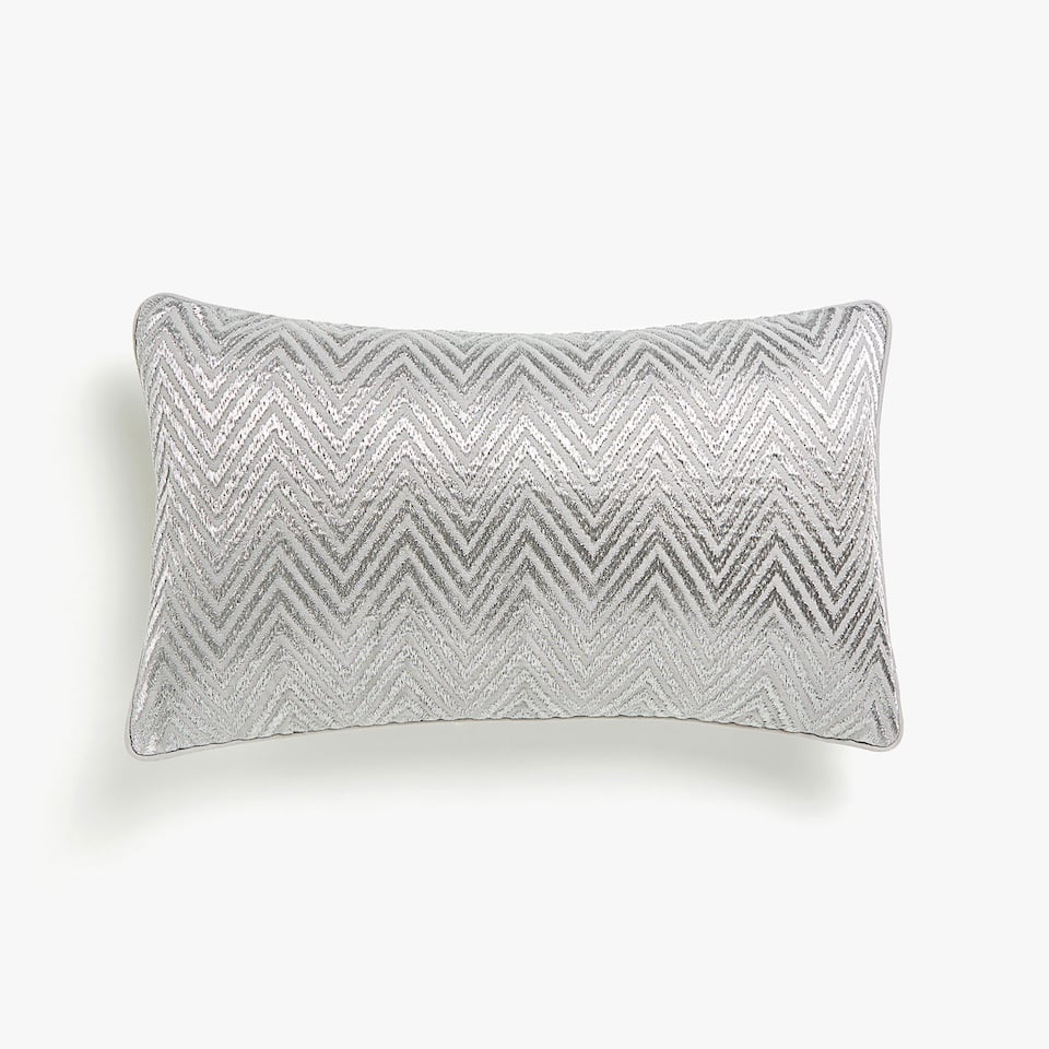 Metallic embroidered cushion cover