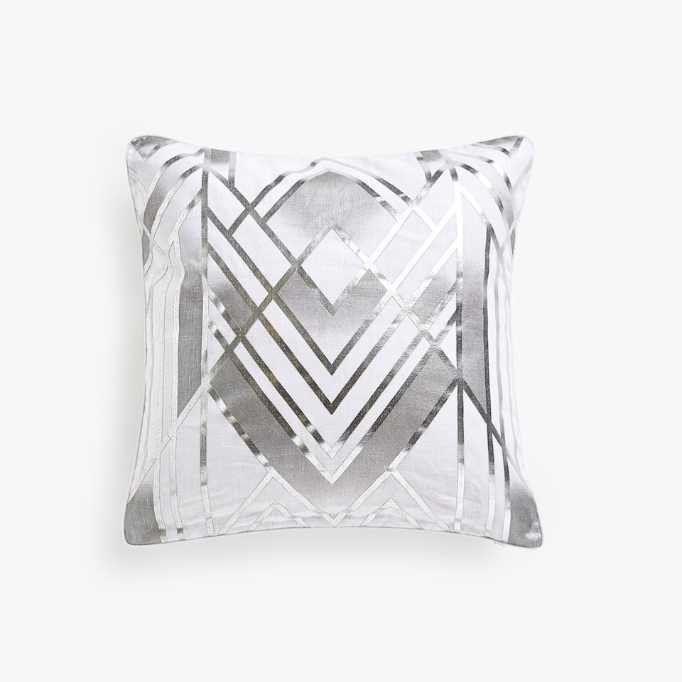Raised print linen cushion cover
