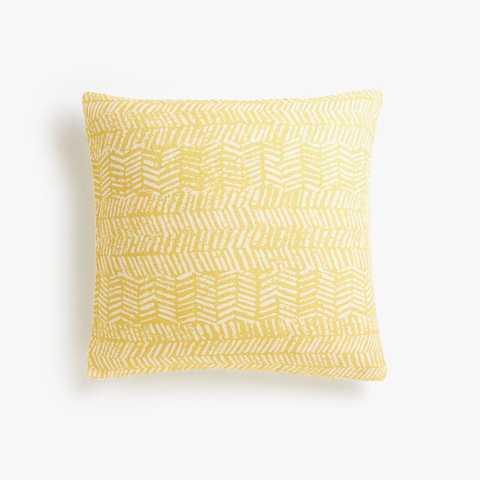 Reversible printed jute cushion cover