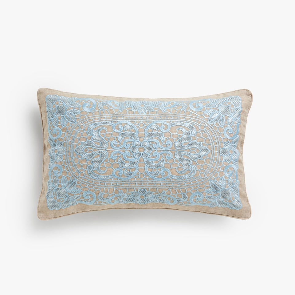 Embroidered lace cushion cover