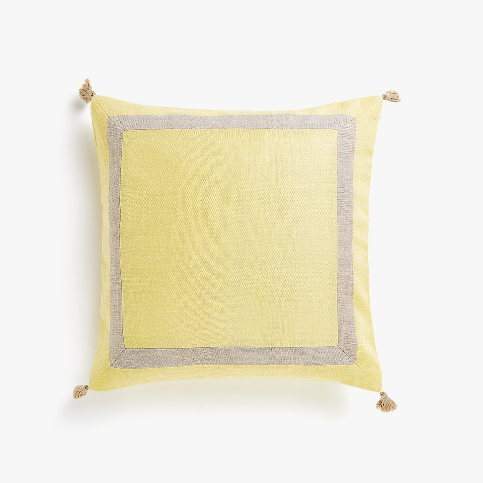 Linen throw pillow cover with tassels