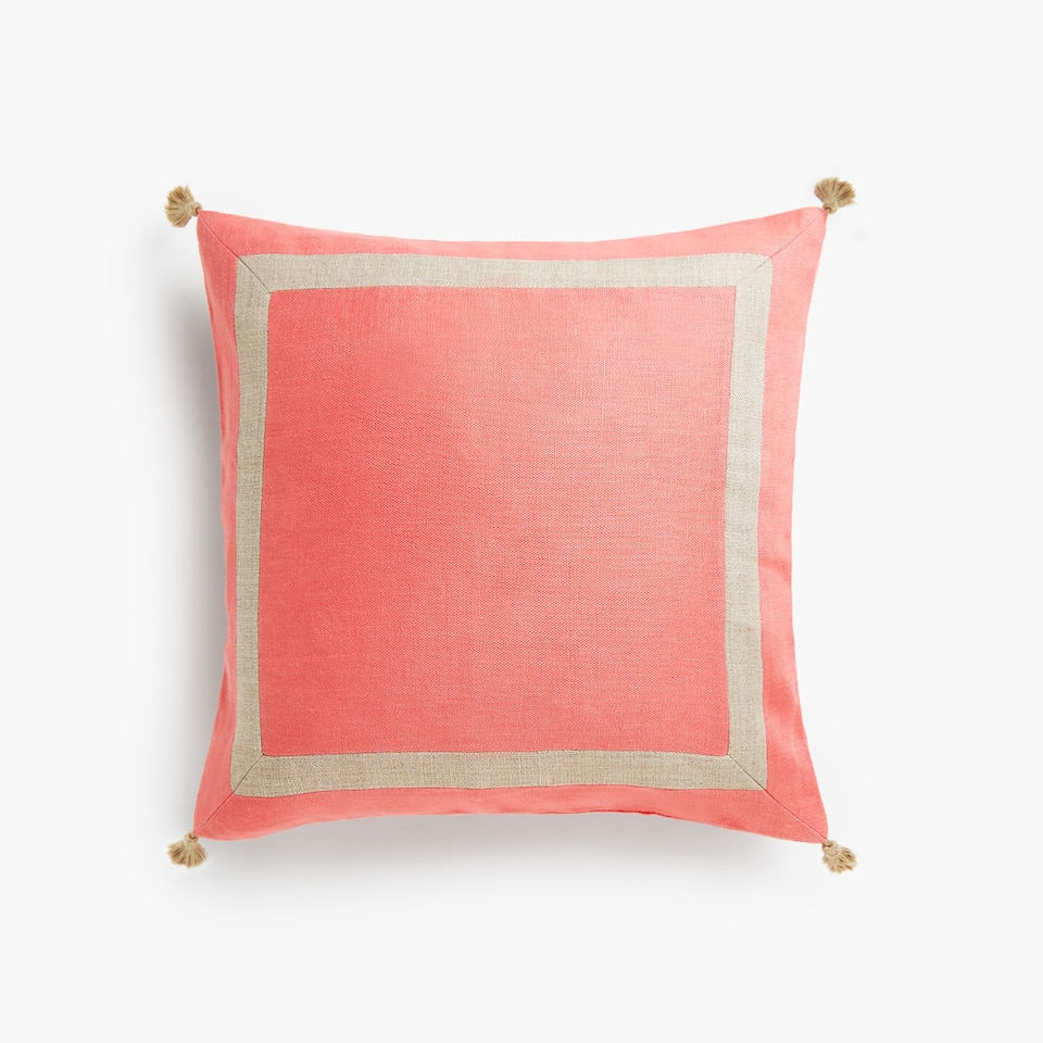 Linen cushion cover with tassels