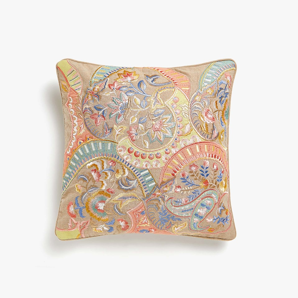 Paisley appliqué linen cushion cover