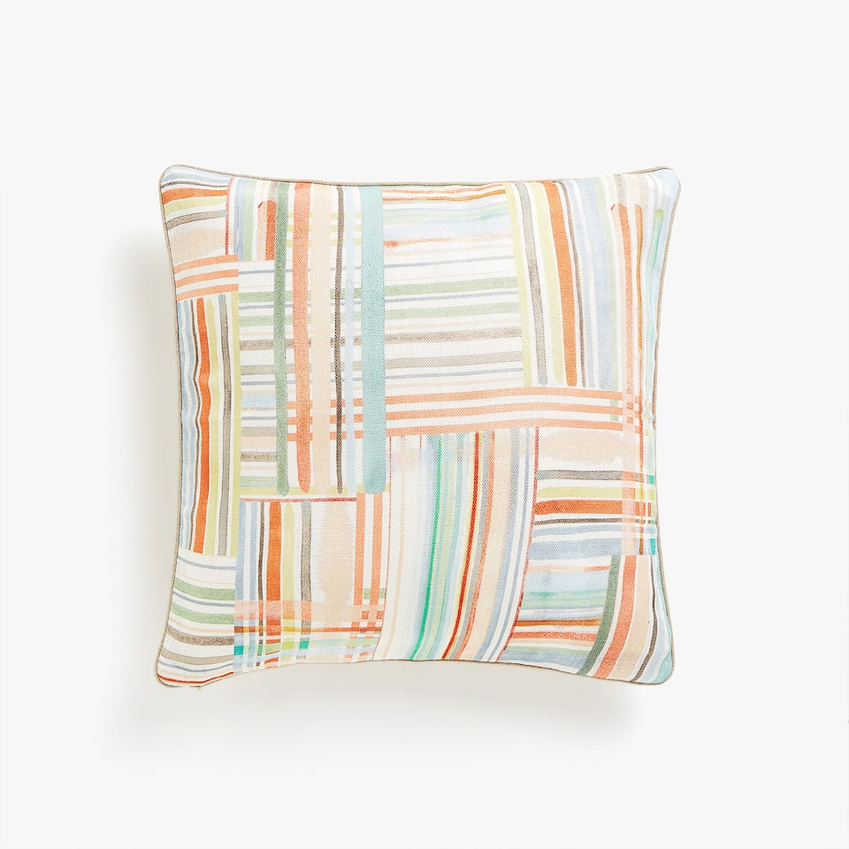 Patchwork print linen cushion cover