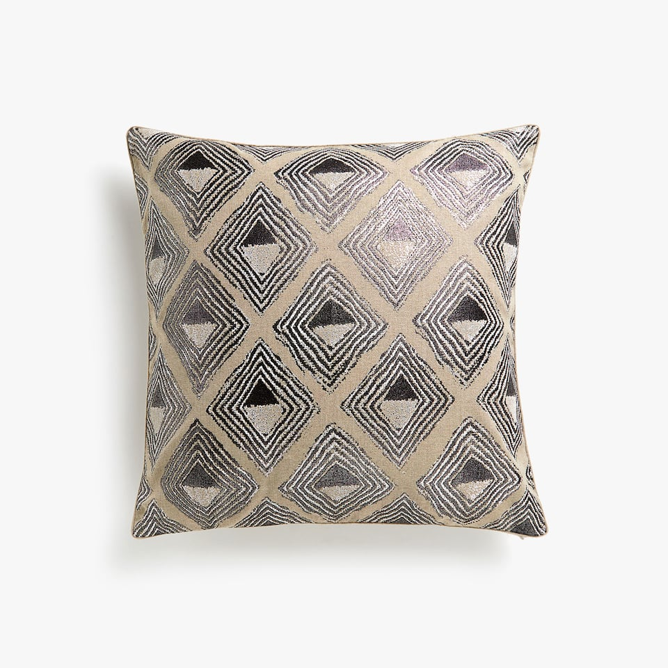 Raised print linen throw pillow cover