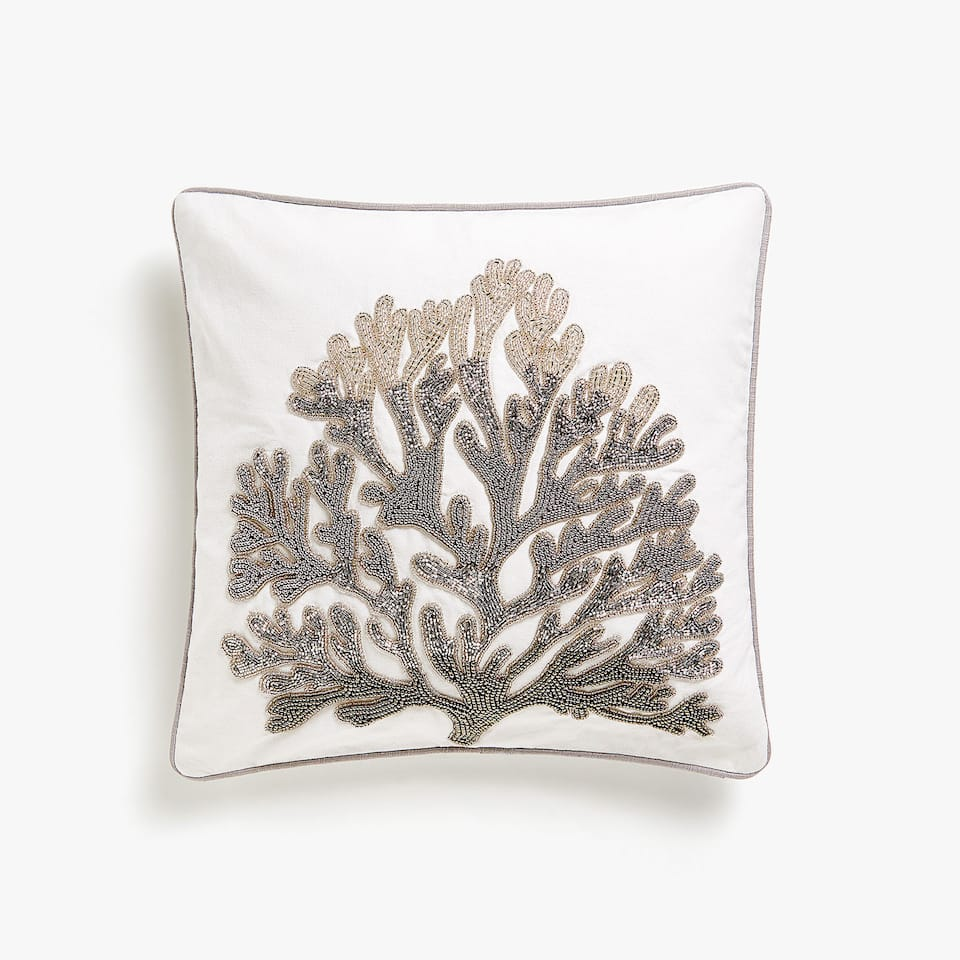 Coral diamanté cushion cover