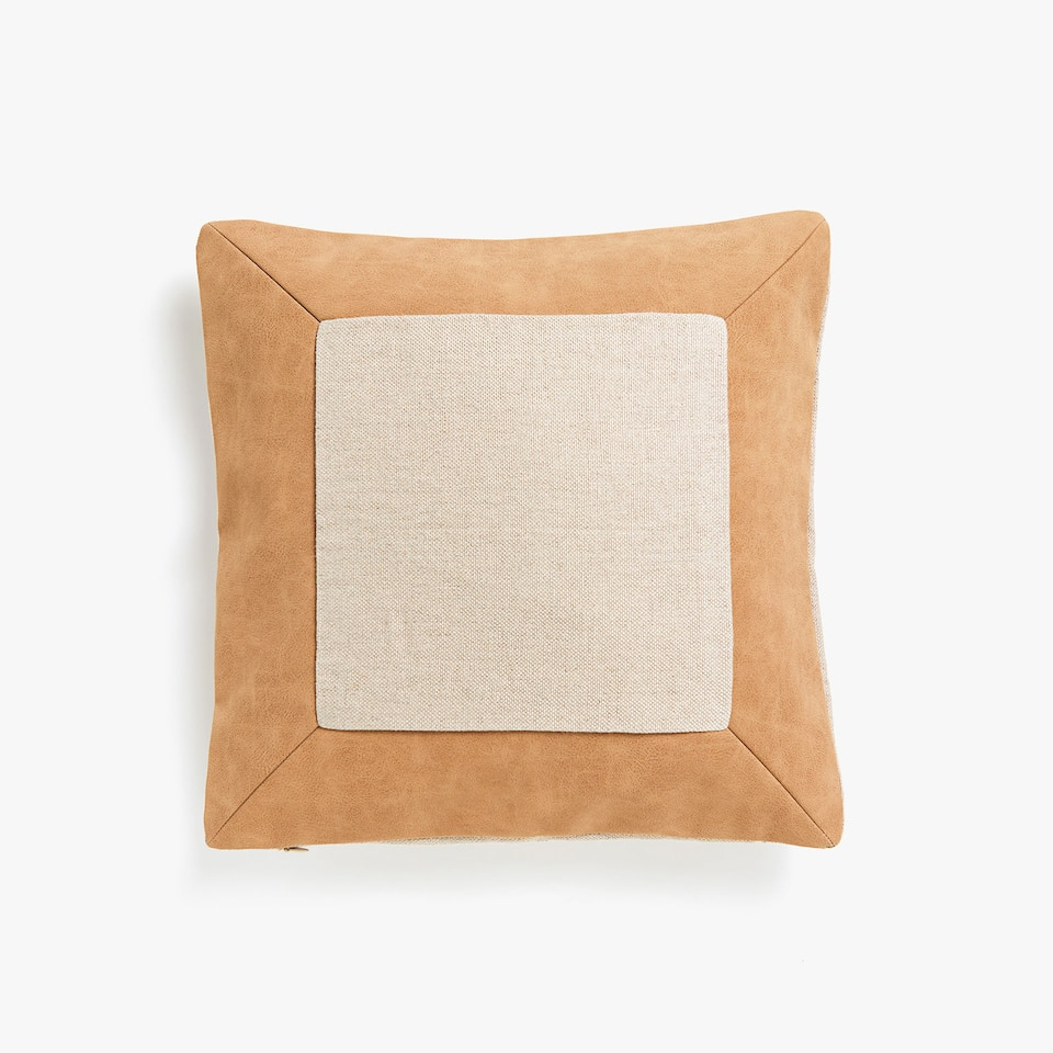 Faux leather appliqué linen cushion cover