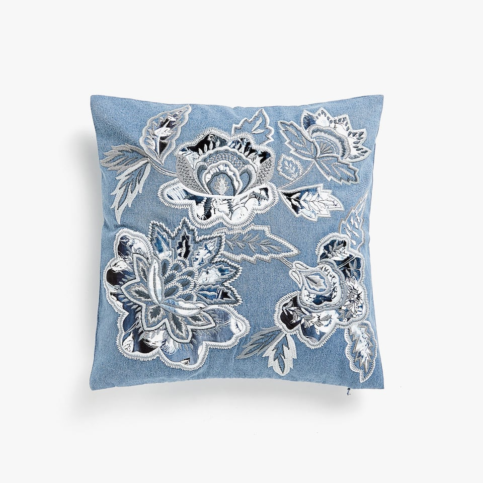 Embroidered denim cushion cover