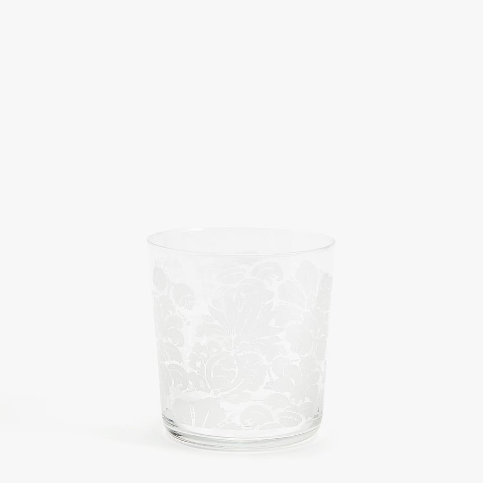 GLASS TUMBLER WITH WHITE FLORAL TRANSFER