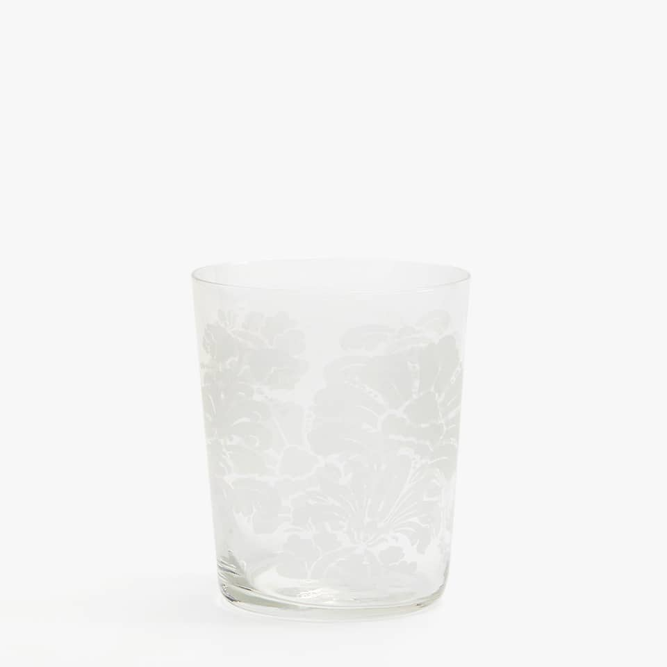WHITE SILKSCREEN GLASS TUMBLER