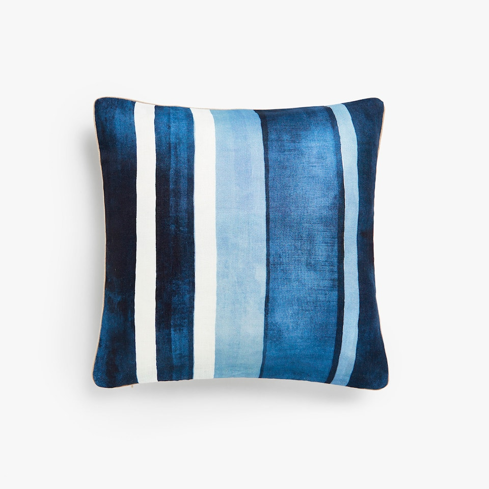 Irregular striped pattern linen cushion cover