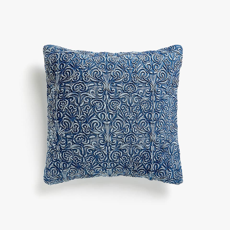 Denim-effect embroidered cushion cover