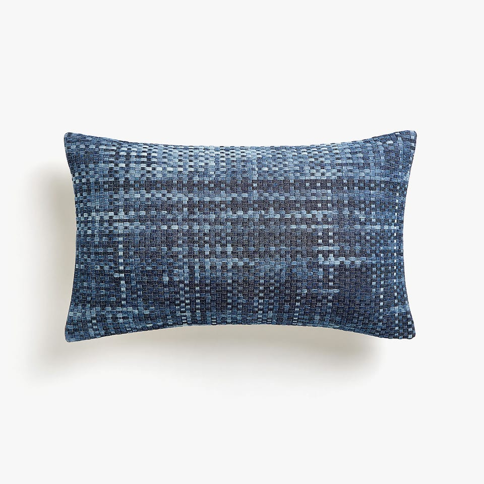 Cross weave denim cushion cover