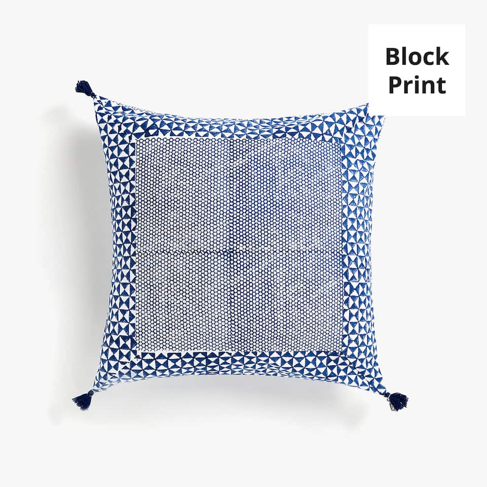 Block print cushion cover