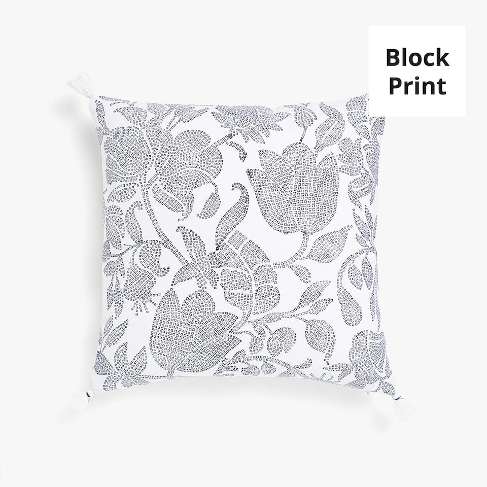 Reversible printed throw pillow cover