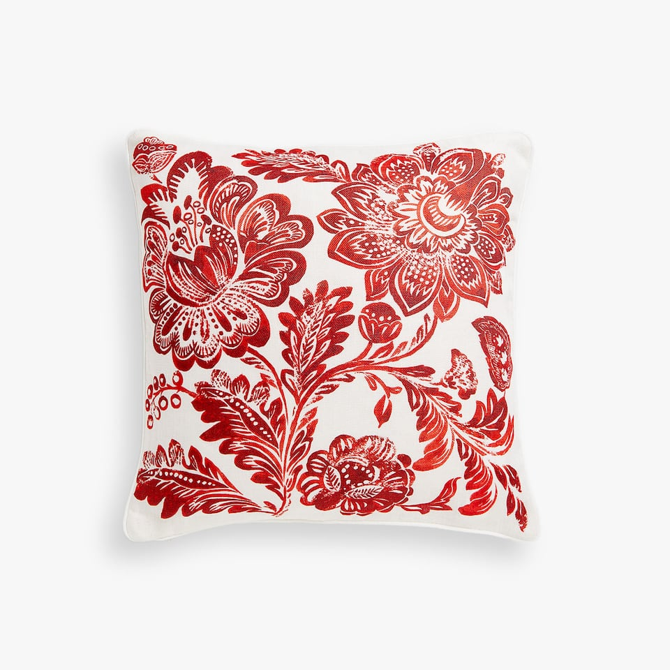 Floral print linen cushion cover