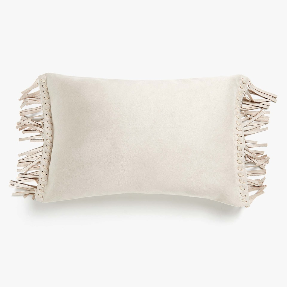 Faux leather cushion cover with fringe
