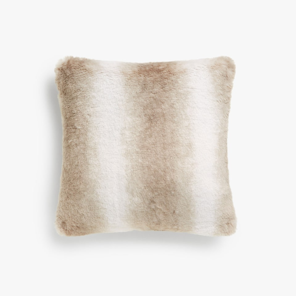 STRIPED FAUX FUR CUSHION COVER