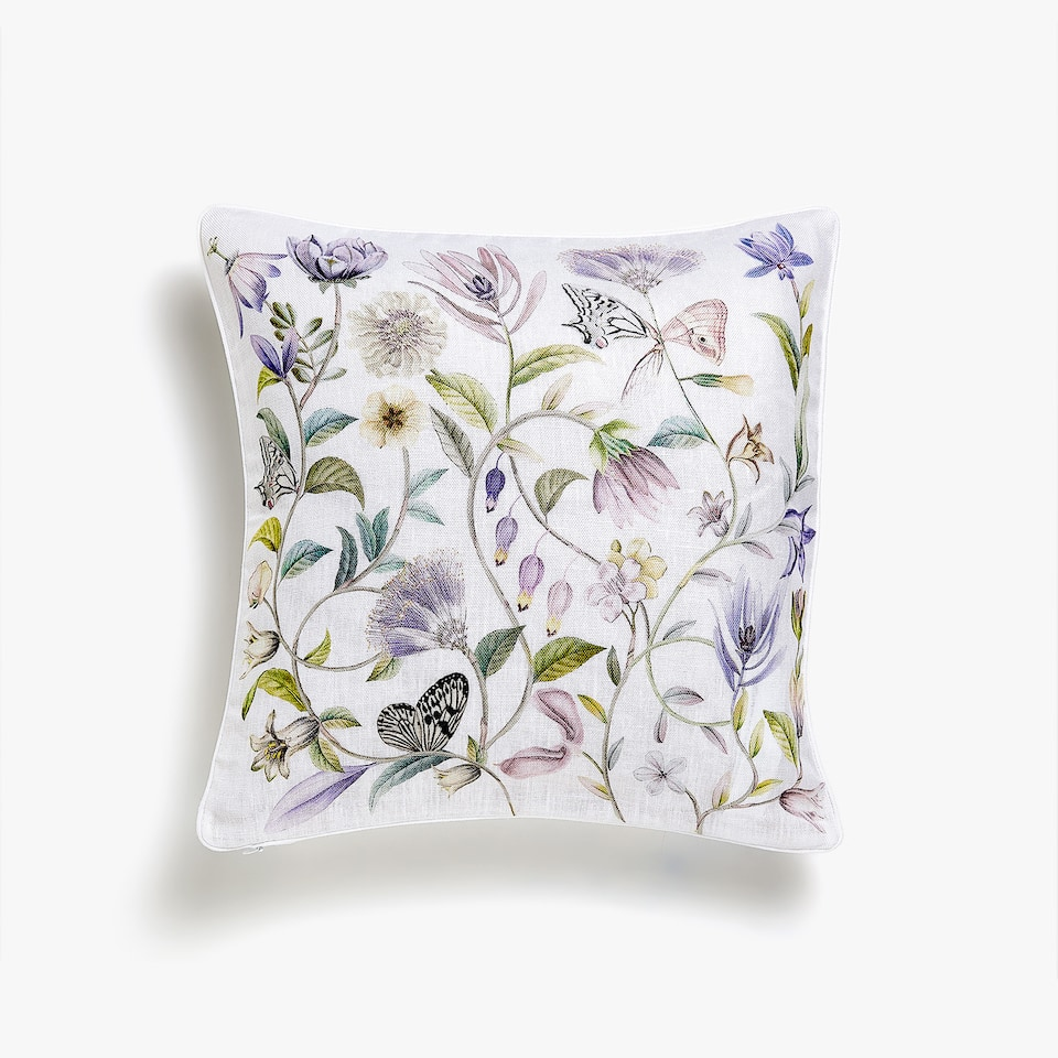 FLORAL LINEN CUSHION COVER