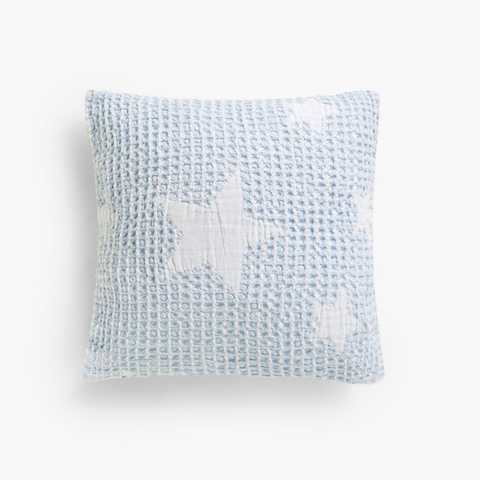 COTTON WAFFLE KNIT STARS CUSHION COVER