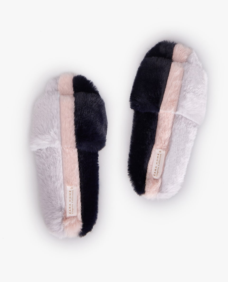 THREE-TONE FURRY SLIDE SLIPPERS