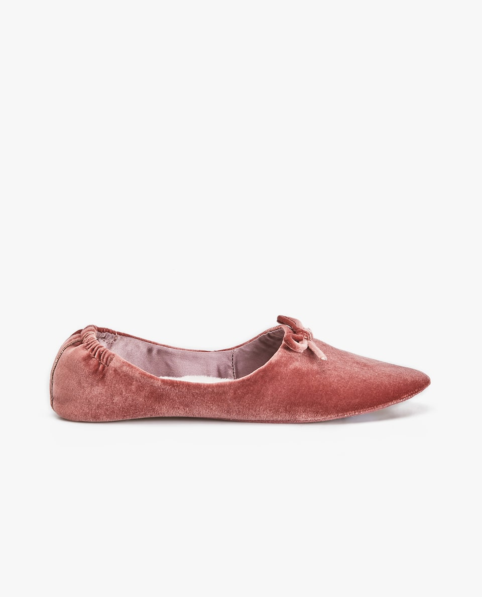 FAUX FUR-LINED VELVET BALLERINA SLIPPERS