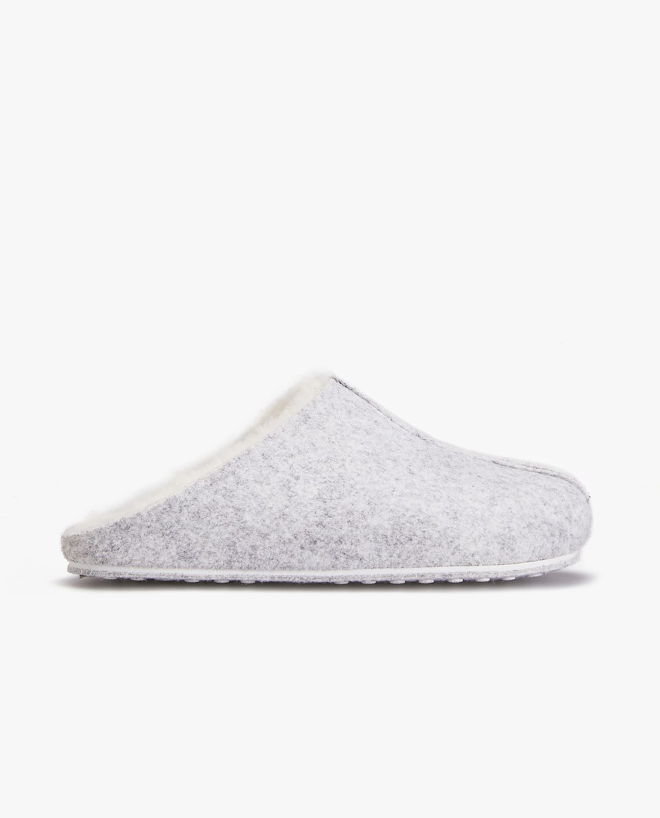 Felt Mule Clog Slippers With Faux Fur Lining by Zara Home