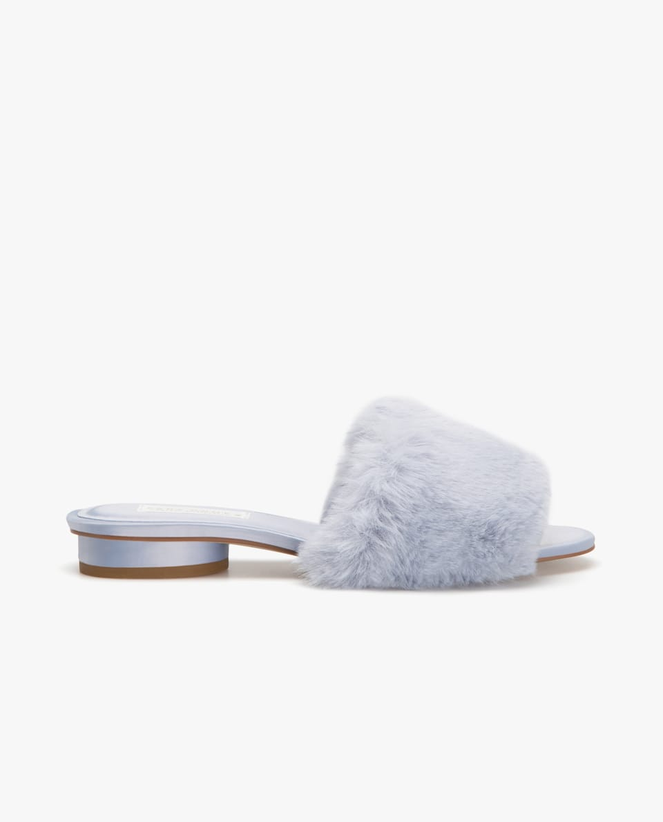 FAUX FUR SANDALS WITH HEEL